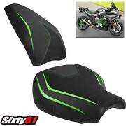 Kawasaki H2 Sx Seat Covers 2018-2020 Luimoto Front Rear Green Black Carbon Suede