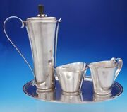 Richard Blanchard Sterling Silver Four Piece Coffee Set Hand Wrought 4457