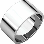 Platinum 10mm Flat Top Barrel Band Wide Ring Not Tapered Wedding Band