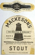 Rare Mackeson's Stout Beer Label Rich Mellow Whitbread England Import And Neckband