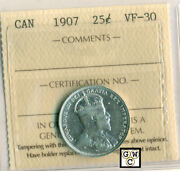 Iccs Canada 1907  25ct Coin Vf-30 Certificate No- Pj 885 Lhm