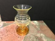 Rare Victorian Vaseline And Amber Vase With Cameo Optic Etched Design 5.75andrdquot