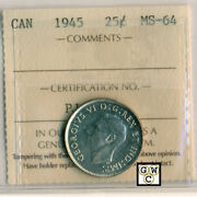 Iccs Canada 1945 25ct Coin Ms-64 Certificate No- Pj 920 Lhm