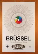 Sabena Airlines Brussels Poster Circa 1960s
