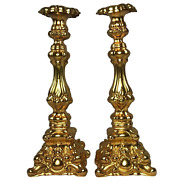 Pair Antique French 19th Century Rocaille Style Gilded Hallmarked Candlesticks