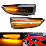 Smoked Lens Sequential Full Led Amber Side Marker Lights For 2018-up Buick Regal