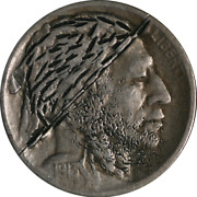 1913-p Type 2 Hobo Buffalo Nickel Carved Obverse Nice Example Of This Art Style