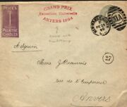 Gb Qv Cover Advert Stationery Price's Candles Exhibition Prize Belgium 1895 E174