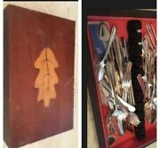 Holmes And Edwards Silver Plate Oak Leaf Wooden Silverware Flatware Box And 62 Set