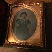 Daguerreotype Or Ambrotype Rare Young Child Photo Antique A5b