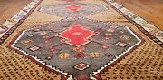 Primitive Vintage 1950and039s Wool Pile Natural Dye Kurdish Runner Rug 4and0393andtimes12and0393and039and039