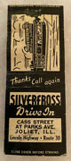 Joliet Il Illinois Silverfloss Drive In Matchbook Cover Chicago Will Kendall Old