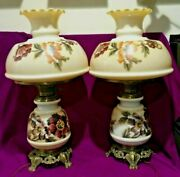 Set Of 2 Xl Table Lamps Floral Ruffled Milk Glass Shade Top Metal Base Vintage
