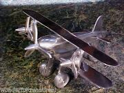 Hm Stainless Steel Airplane Air Plane Figurine Propellers Double Wing India