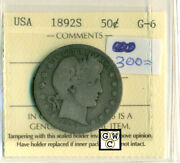 Iccs 1892s Usa 50cents Coin G-6 Certificate No- Xtn 400