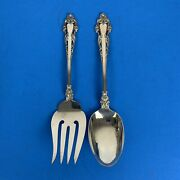 """Reed And Barton Grande Renaissance 8-1/2"""" Serving Spoon And Fork Sterling Silver"""
