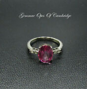 9k Gold 9ct White Gold Pink Topaz And Diamond Ring Size N 2.56g Us Size 6 3/4