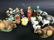 Vintage Set Of 17 Italy Chalkware Nativity Figures Creche Plaster Hand Painted