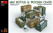 Miniart 35573 Milk Bottles And Wooden Crates Scale Plastic Model Kit 1/35