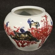 Oriental Vase In Glazed And Painted Ceramic Antique Style Chinese Cup Furniture