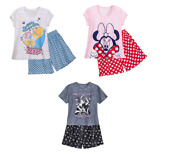 Disney Store Ladies 2 Piece Short Pajamas Set Beauty And The Beast Minnie Mouse