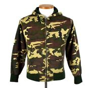 Vintage 1980s Camo Hoodie Jacket Womens Size Xs Zip Up Thermal Lined Lightweight