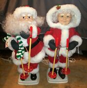 Vtg 1995 Santa And Mrs Claus Telco Motionettes 24 Animated Skiing Figures