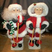 Vtg 1995 Santa And Mrs Claus Telco Motionettes 24 Animated Skiing Figures Video