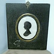 Antique Young Girl Silhouette Reverse Painting On Glass By Hinton Gibbs Ca 1805
