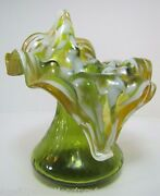Old Hand Blown Ruffled Teardrop Vase Lovely Decorative Art Jack In The Pulpit