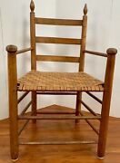Colonial Carved Antique Amish Primitive Arm Chair Wood Carver Folk 1750and039s Ash