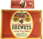 Irtp Vintage Drewrys Extra Dry Pale Ale Beer Label South Bend Indiana And Neckband