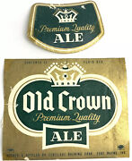 Vintage Old Crown Beer Label Centlivre Brewing Fort Wayne Indiana And Neckband