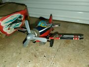 Vintage Tin Friction Powered F-80 Plane Jet Made In Japan Friction Working Yone