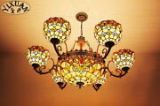 Dragonfly Sunflower Baroque Chandelier Ceiling Lamp Stained Glass Light