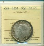 Iccs Canada 1937 50 Cents Ms-65 Xmt 151