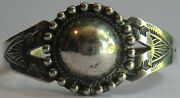 Handsome Vintage Navajo Indian Sterling Dome And Stamped Arrows Cuff Bracelet