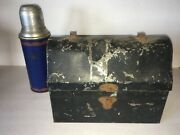 Vtg. Black Metal Lunch Box Dome Top American Thermos Bottle Co.