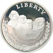 1991 S Mount Rushmore 50th Anniversary Proof Commem 90 Silver Dollar Coin