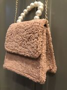 Nwt Pink Haley Crossbody Plush Bag Pink Color White Pearls Handle