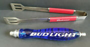 Bud Light Beer Draft Tap Handle Blue 12 And Red Budweiser Tongs 16