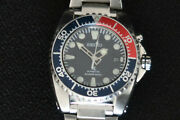Seiko 5m62 0bl0 Mens Scuba Divers Watch Blue Face And Pepsi Bezel Stainless Steel