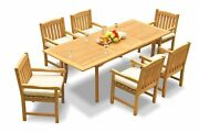 7pc Grade-a Teak Dining Set 94 Rectangle Table 6 Devon Arm Chairs Outdoor Patio