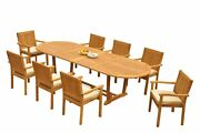 9pc Grade-a Teak Dining Set 118 Mas Oval Table Leveb Stacking Arm Chairs Outdoor