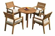 5pc Grade-a Teak Dining Set 36 Round Table 4 Vellore Stacking Arm Chairs Patio