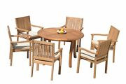 7pc Grade-a Teak Dining Set 48 Round Table 6 Leveb Stacking Arm Chairs Outdoor