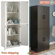 Wood Storage Cabinets With 4 Doors Tall Pantry Cupboard Tall Kitchen Organizer