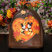 Nwt Loungefly Disney Mickey And Minnie Mouse Autumn Mini Backpack New With Tags