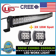 300w 52 Curved Combo Led Work Light Bar Driving Truck Offroad+2x 18w Spot Lamps