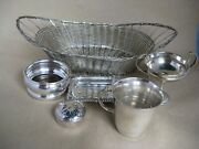 Silver Plated Items All Small X 5 + Basket